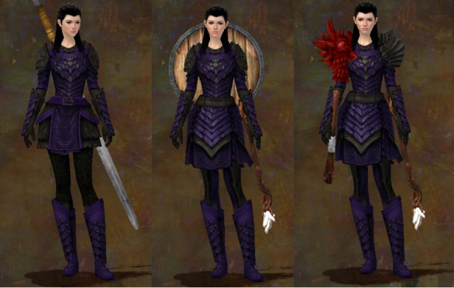 My character, Aminarra Westin, sporting 3 versions of armor
