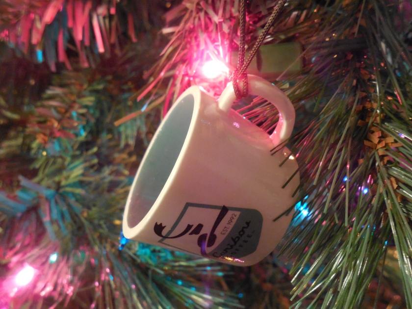 Caribou Coffee cup ornament